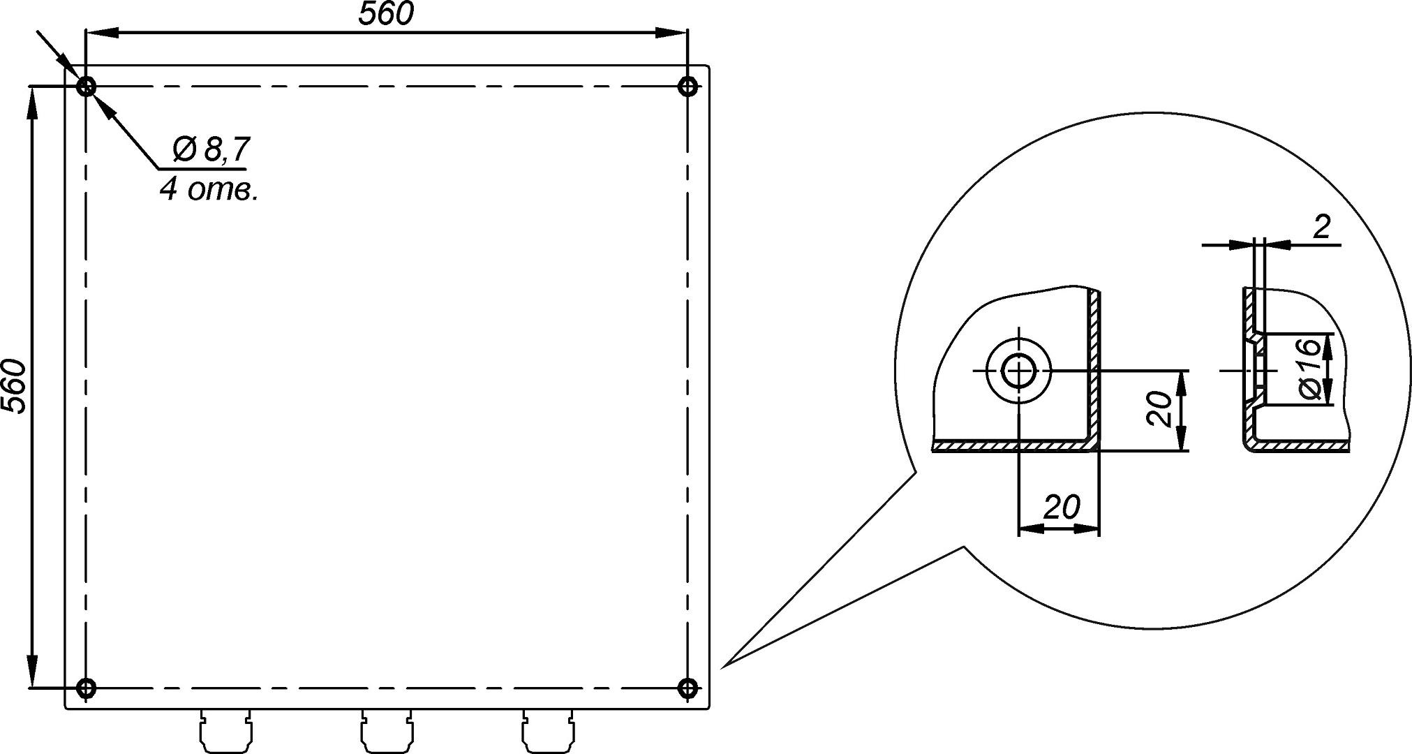 Отверстия для крепления к стене предусмотрены на задней стенке термошкафа ТШ-1