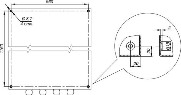 Отверстия для крепления к стене предусмотрены на задней стенке термошкафа ТШ-5