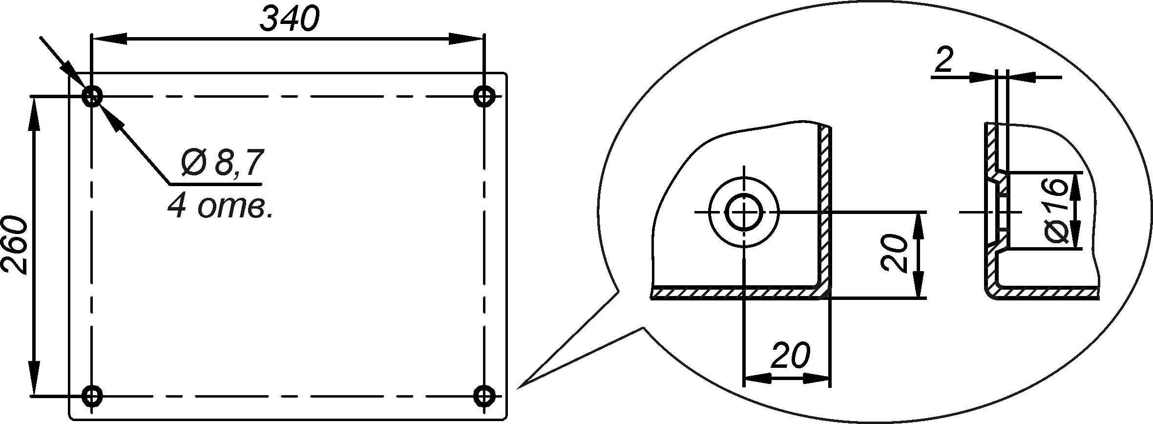 Отверстия для крепления к стене предусмотрены на задней стенке термошкафа ТШ-6
