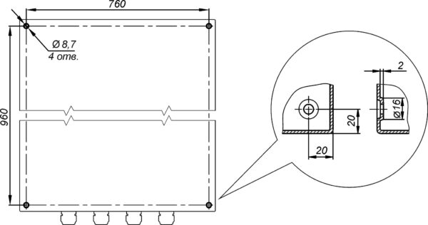 Отверстия для крепления к стене предусмотрены на задней стенке термошкафа ТШВ-80.100.30.300