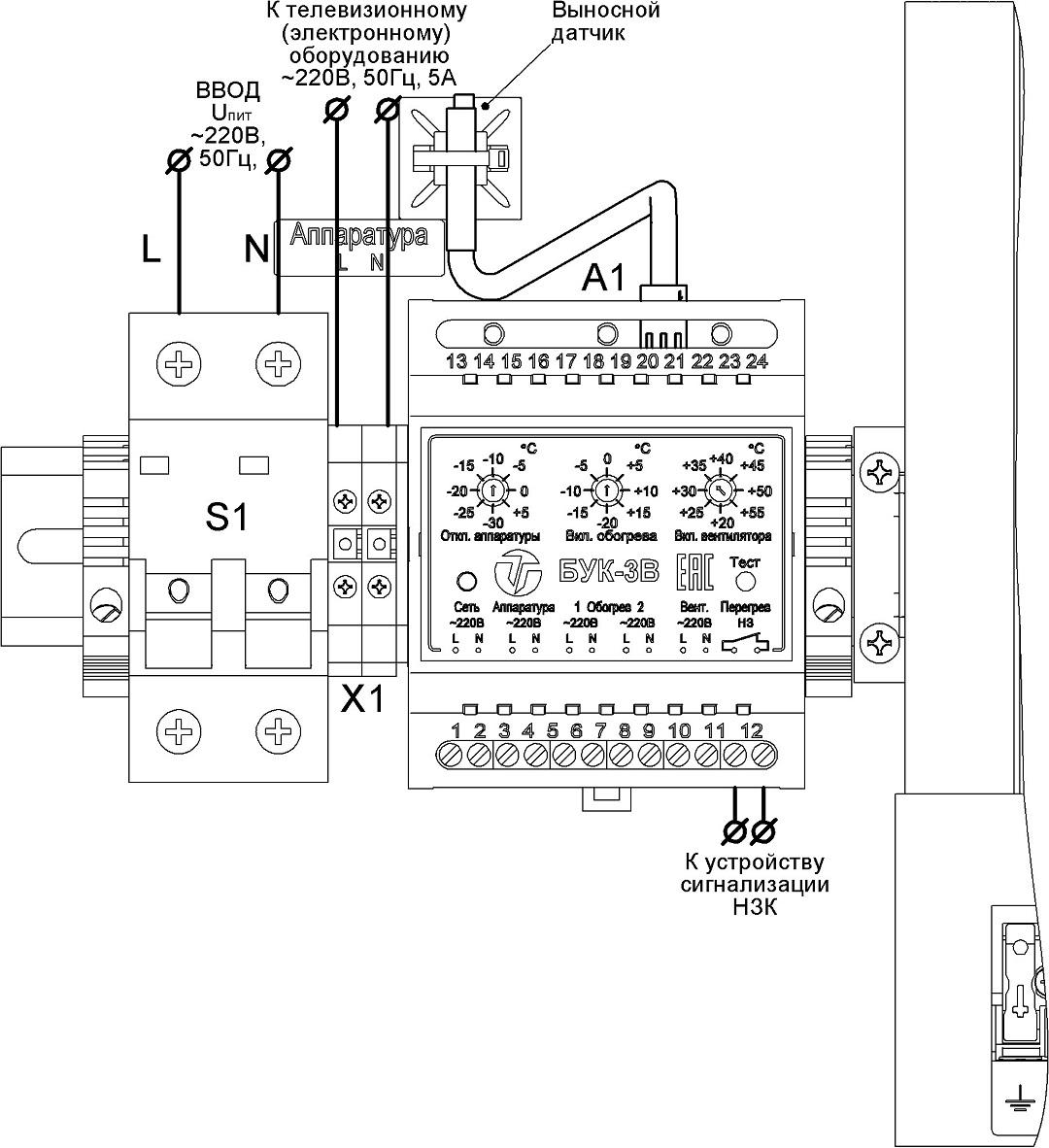 Подключение термошкафа ТШ-2-В1