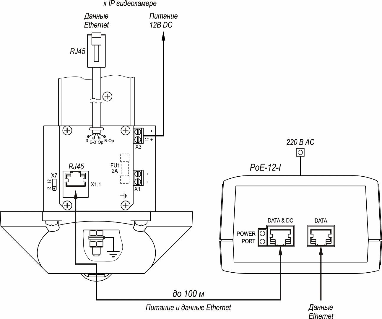 Подключение ТГБ-7 PoE