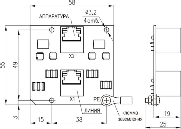 Плата защиты портов сети Ethernet  с питанием PoE <br>ПЗЛ-ЕП 16