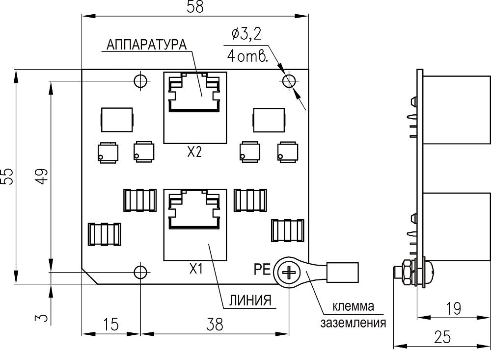 Плата защиты портов сети Ethernet  с питанием PoE <br>ПЗЛ-ЕП 19