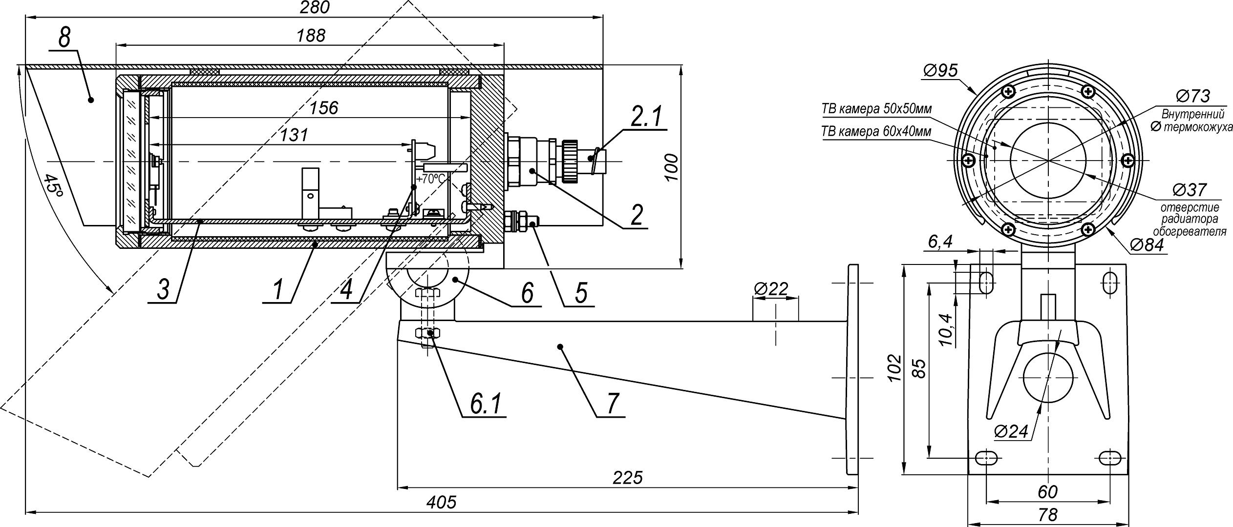 Термокожух взрывозащищенный (1Ex db IIC T6 Gb X / Ex tb IIIC T80°C Db X) <br>ТГБ-4М Ex IIC-24/12 22