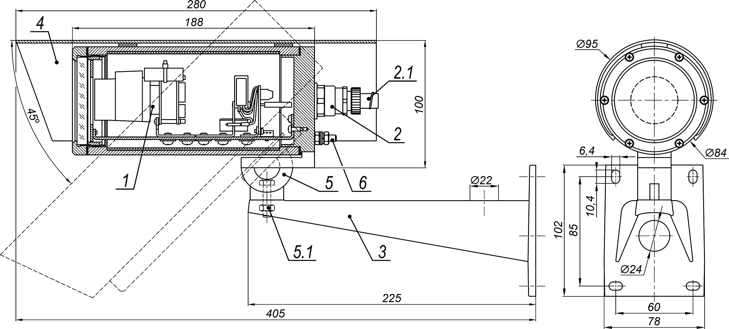 Видеокамера взрывозащищённая сетевая серии «Корунд-ВБ» <br>ТВК-61IP-4МВБ-V550-24VDC 22