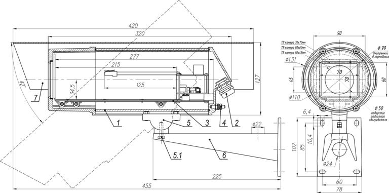 Состав и габаритно установочные размеры ТГБ-7 PoE