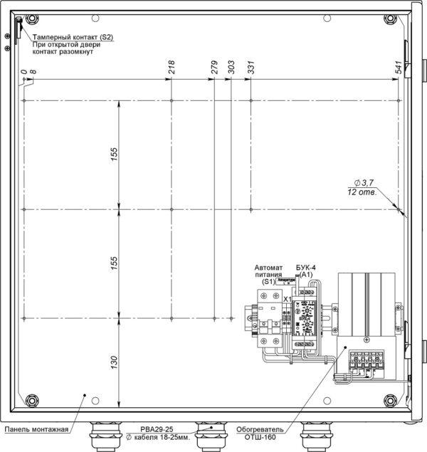 Устройство термошкафа ТШ-1 (дверь открыта на 90°)