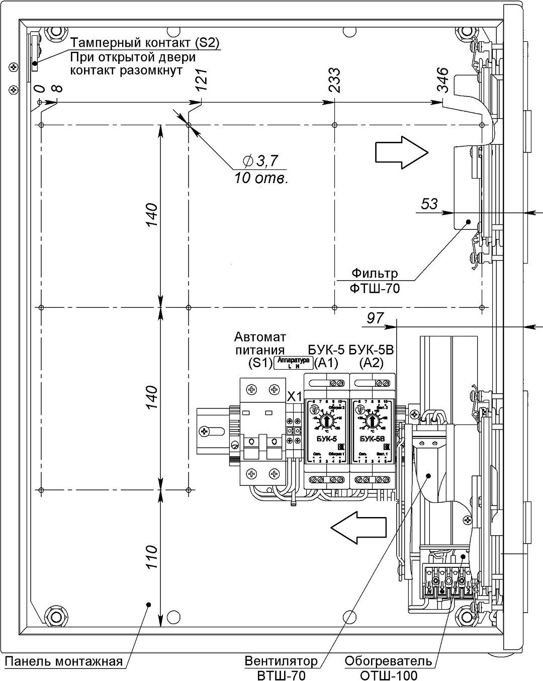 Устройство термошкафа ТШ-13В (дверь открыта на 90°)