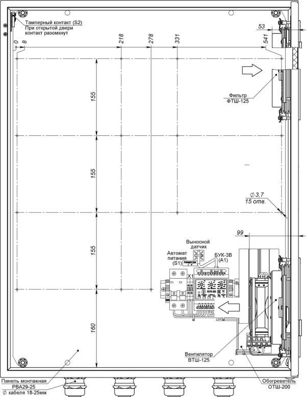 Устройство термошкафа ТШ-2-В1 (дверь открыта на 90°)