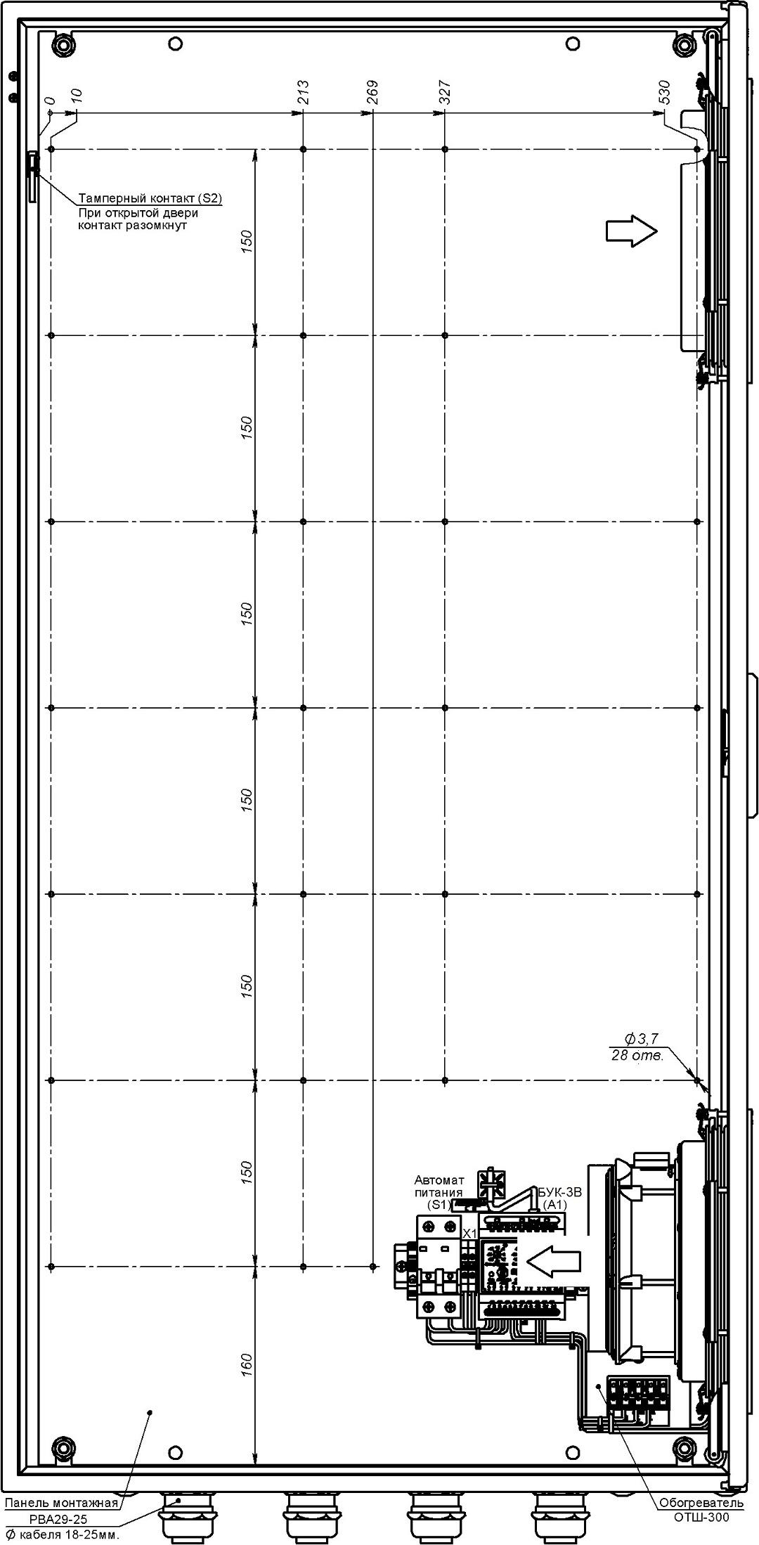 Устройство термошкафа ТШ-5-В2 (дверь открыта на 90°, стрелками указано направление воздушного потока