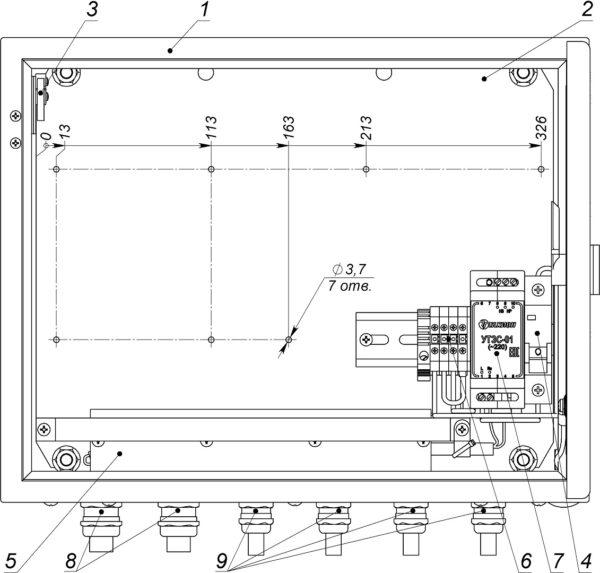 Устройство термошкафа ТШ-6 (дверь открыта на 90°)