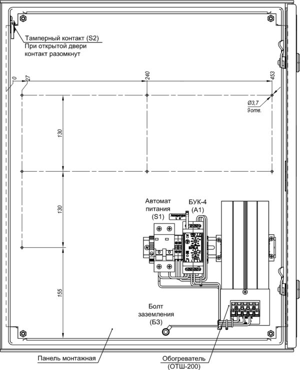 Устройство термошкафа ТШП-1 (дверь открыта на 90°)