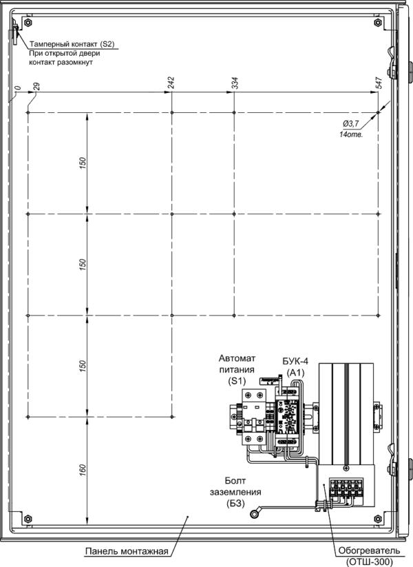 Устройство термошкафа ТШП-2 (дверь открыта на 90°)