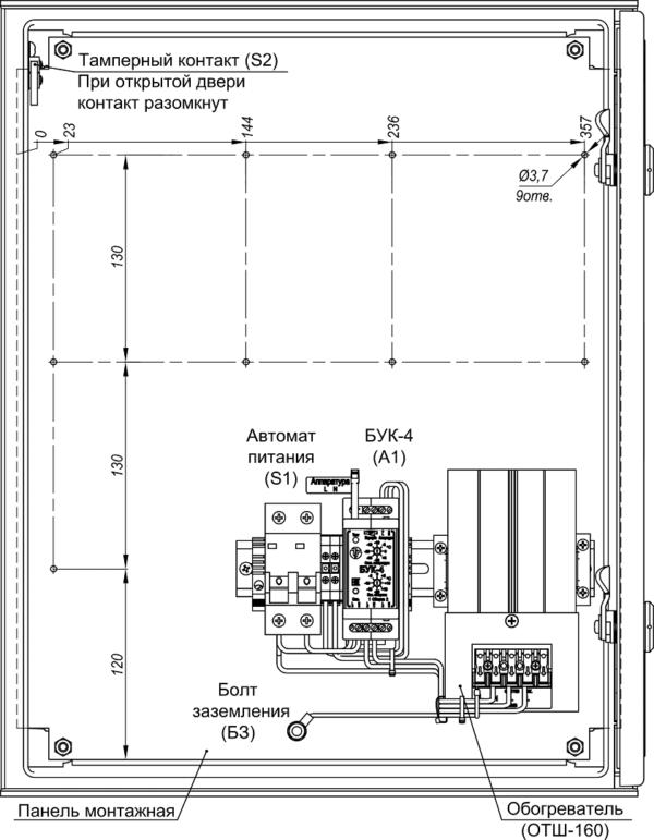 Устройство термошкафа ТШП-3 (дверь открыта на 90°)