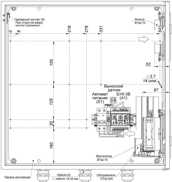 Устройство термошкафа ТШВ-60.60.35.200 (дверь открыта на 90°)