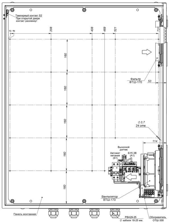 Устройство термошкафа ТШВ-80.100.30.300 (дверь открыта на 90°, стрелками указано направление воздушного потока