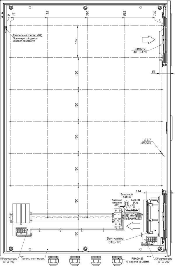 Устройство термошкафа ТШВ-80.120.30.400 (дверь открыта на 90°, стрелками указано направление воздушного потока)