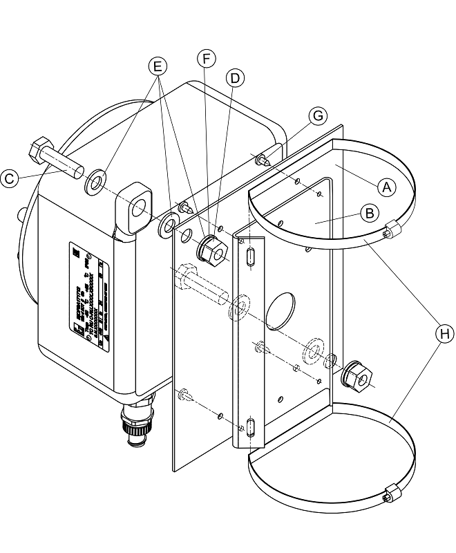 Кронштейн (для крепления на опору коробок монтажных КМ-1 ВБ, КМ-2 ВБ, блоков питания уличных БПУ-2-220VAC-24VDC/2,0A ВБ) <br>КС-7