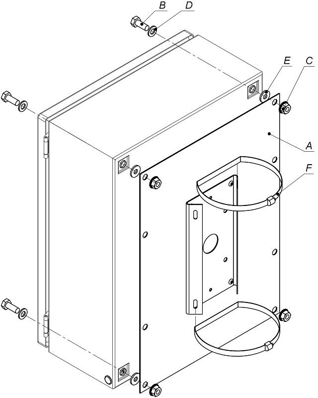 Кронштейн (для крепления на опору коробок монтажных КМ-30.20.12, КМ-30.30.12 и шкафов монтажных ШМ-30.30.12, ШМ-30.40.15) <br>КС-9