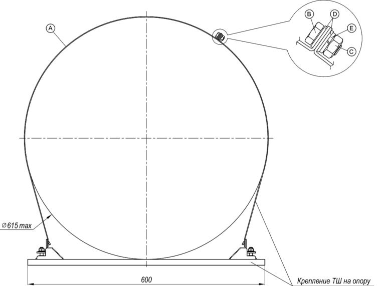 Комплект удлинителя для крепления ТШ на опору