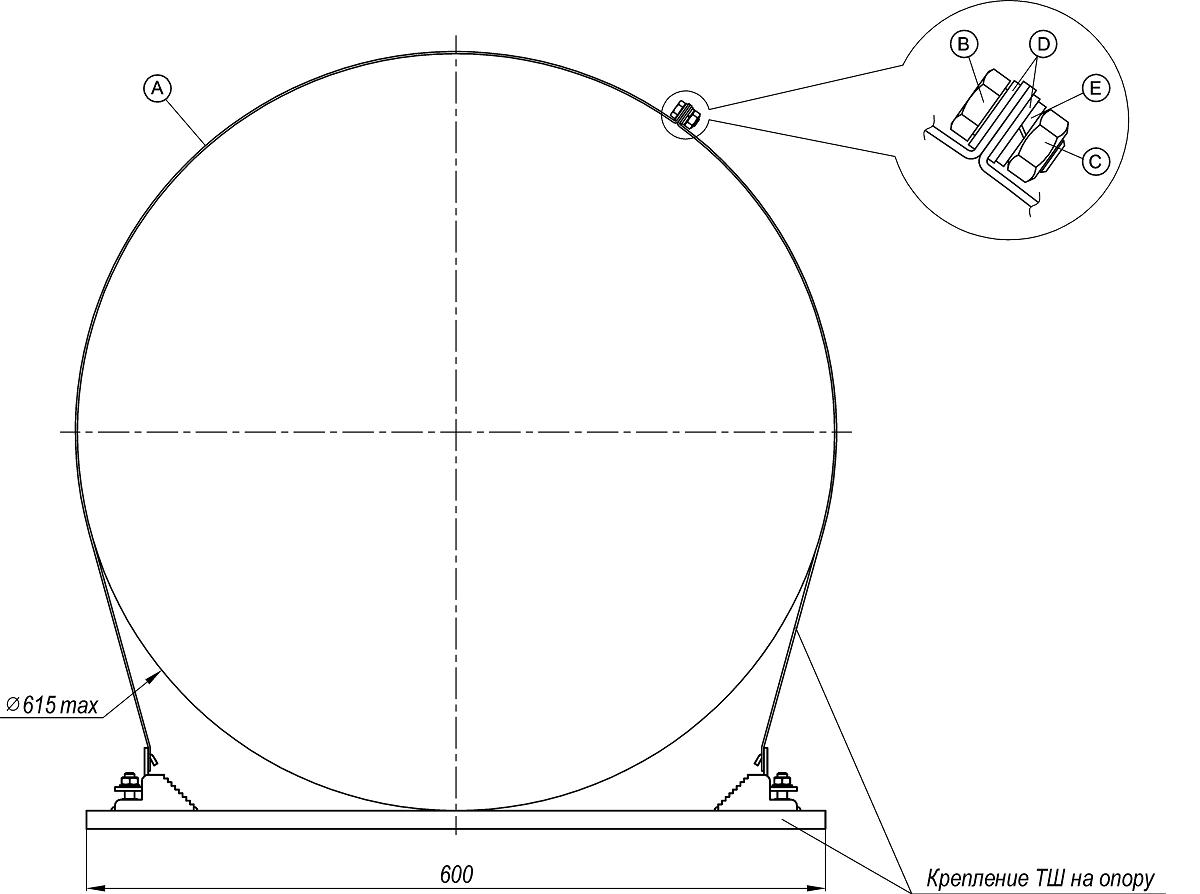 Комплект удлинителя для крепления ТШ на опору 17
