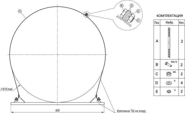 Монтаж комплекта удлинителя для крепления термошкафов ТШ на круглые опоры