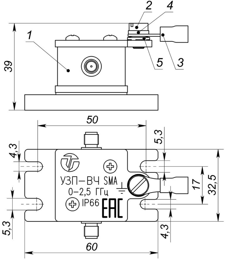 Состав и габаритно установочные размеры УЗП-ВЧ SMA