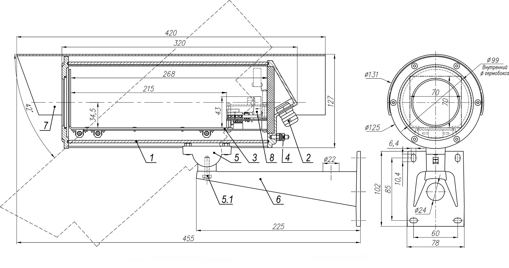 Состав и габаритно-установочные размеры ТГБ-7 ТВ