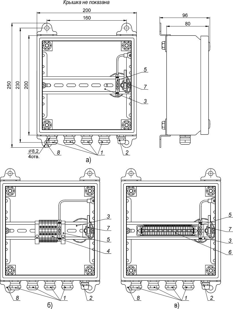 Устройство, габаритные и установочные размеры КМ-4 (а), КМ-5 (б) и КМ-6 (в)