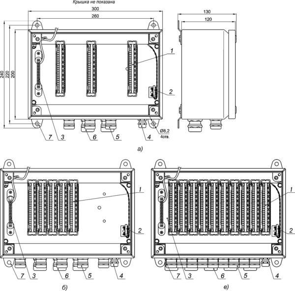Устройство, габаритные и установочные размеры КМ-7-03 (а), КМ-7-05 (б) и КМ-7-10 (в)