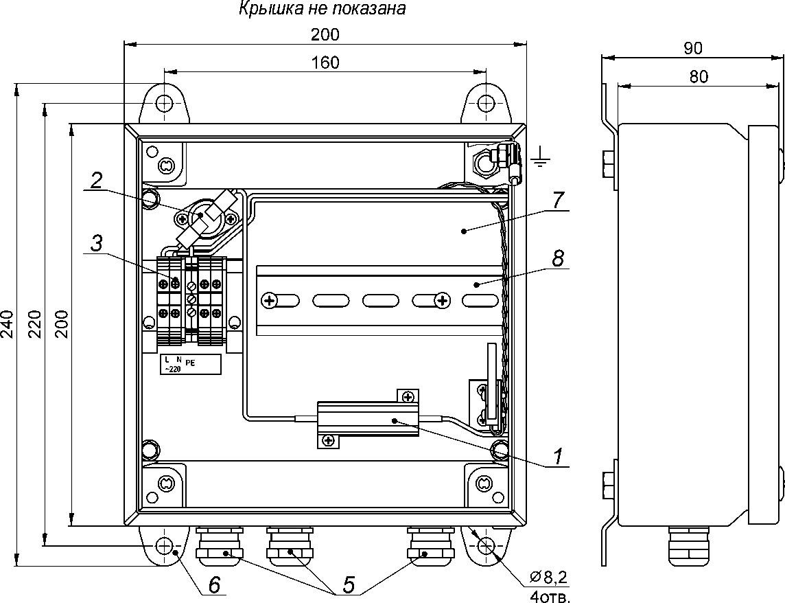 Устройство, габаритные и установочные размеры КМО-1