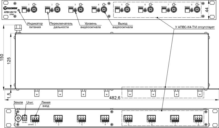 Устройство и габаритные размеры АПВС-К8-TVI