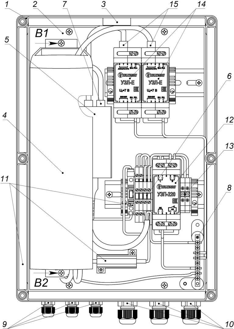 Устройство ВУС-1-220 исп.8 (и исп.9) (крышка не показана)