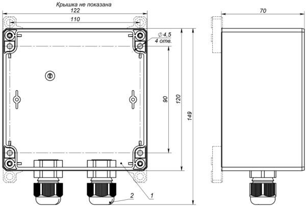 Габаритные и установочные размеры коробок серии КР-1