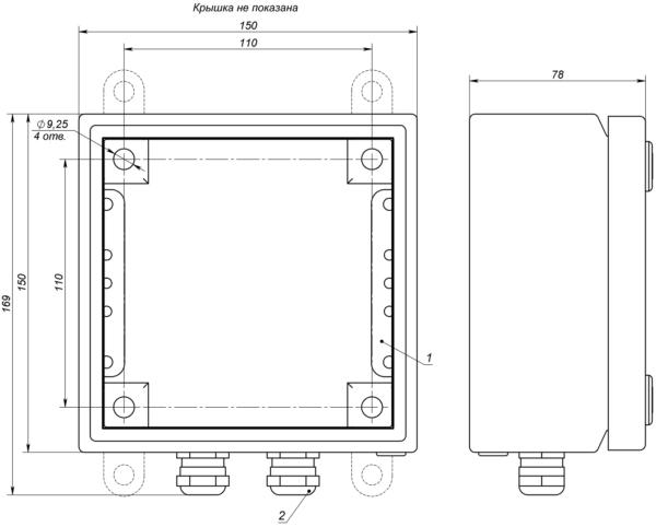 Габаритные и установочные размеры коробок серии КР-4
