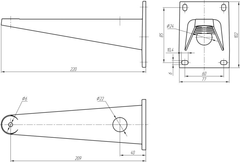 Габаритные и установочные размеры кронштейна КТ-220