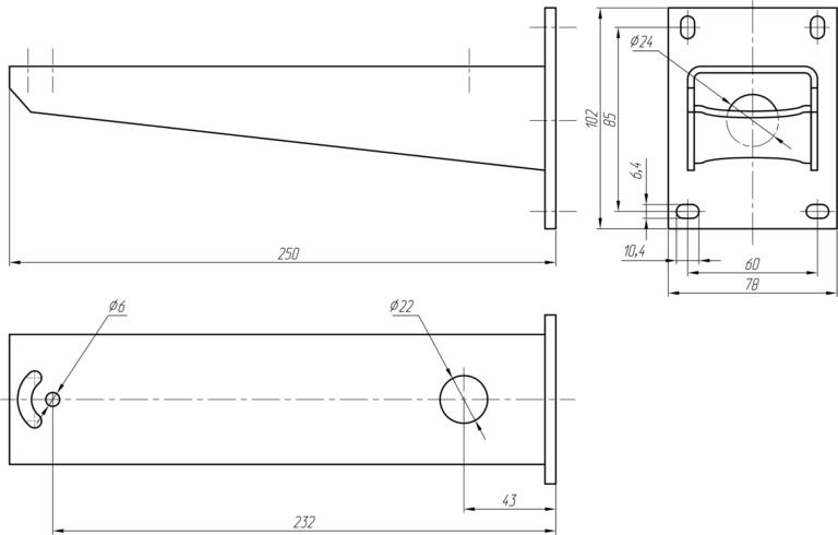 Габаритные и установочные размеры КТУ-250
