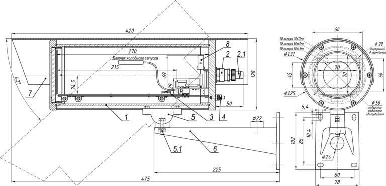 Состав и габаритные размеры термокожуха ТГБ-4Г Ех РоЕ+