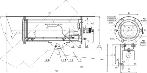 Состав и габаритно-установочные размеры ТГБ-8Г Ех PoE+