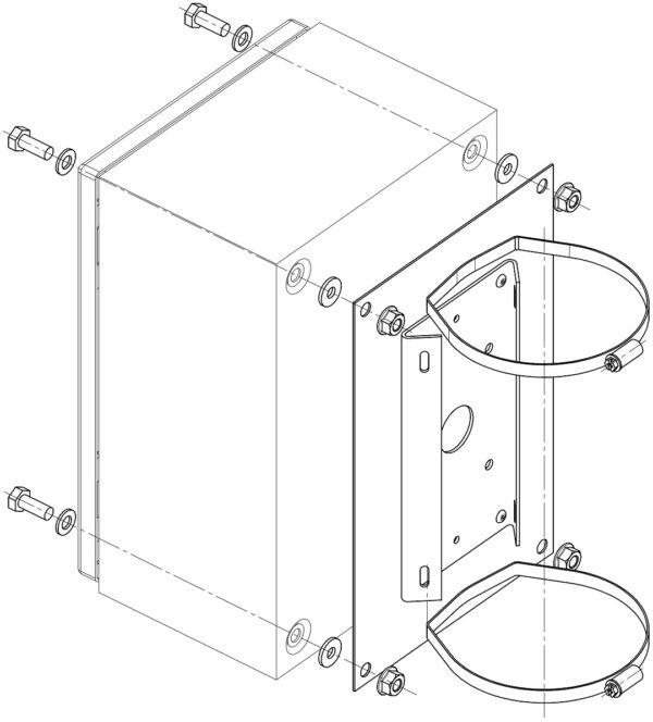 Монтаж КМ на квадратные и круглые опоры с помощью КС-6 и КС-9