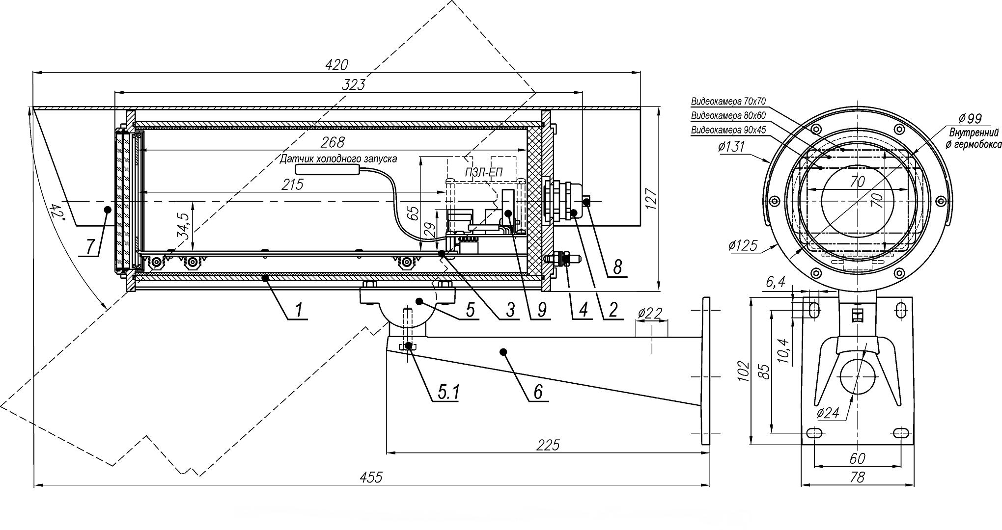Состав и габаритно установочные размеры ТГБ-7-PoE исп1