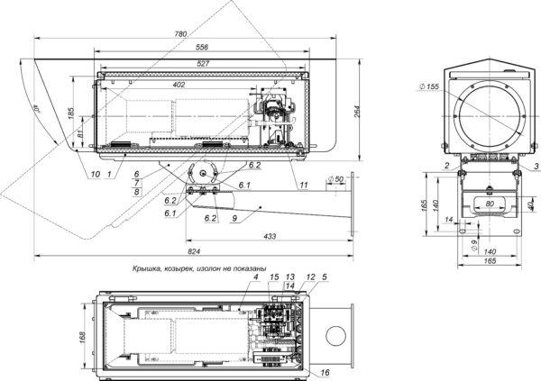 Состав изделия. Габаритные и установочные размеры изделия КВН-21.21.55