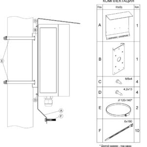 Монтаж кронштейна КМГ-4 для крепления КМГ, КМГО на квадратные и круглые опоры