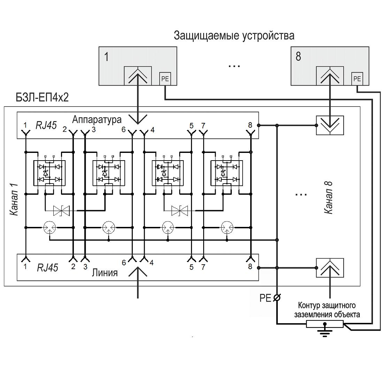 Схема подключения БЗЛ-ЕП4х2