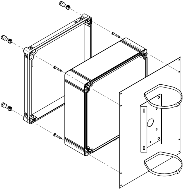 Монтаж кронштейна для крепления на квадратные и круглые опоры
